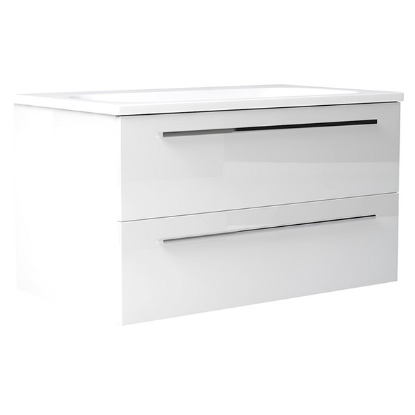 Noble Modular White Gloss 500mm Wall Hung Double Drawer Unit With Basin