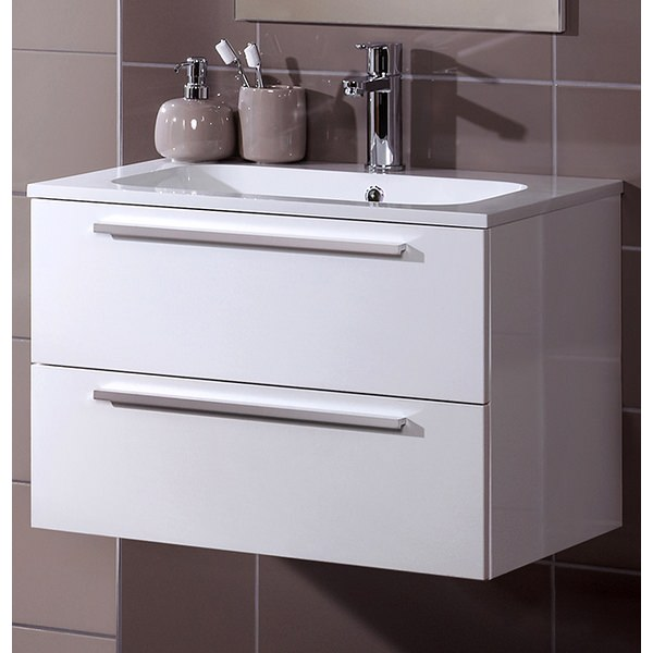 Alternate image of Noble Modular White Gloss 500mm Wall Hung Double Drawer Unit With Basin