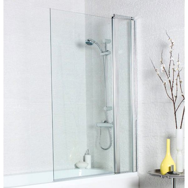 Kartell Koncept 920x1400mm Square Edge Bath Screen With Extension Panel