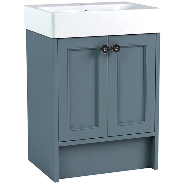 Roseberry modular 600mm freestanding vanity unit with ceramic basin for Modular bathroom vanity pieces