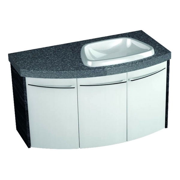 Symmetry Wall Mounted 3 Door Curved Unit With 50mm SS Worktop And Basin