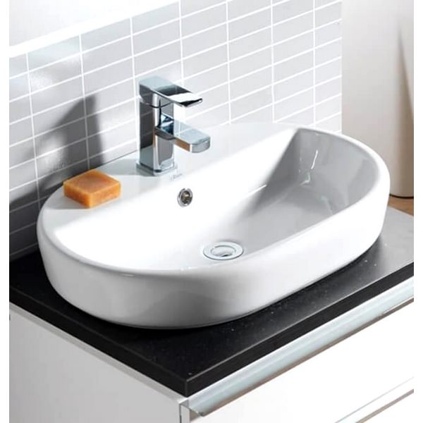 QX Caspia 600 x 420mm Oval Vanity Basin With 1 Tap Hole