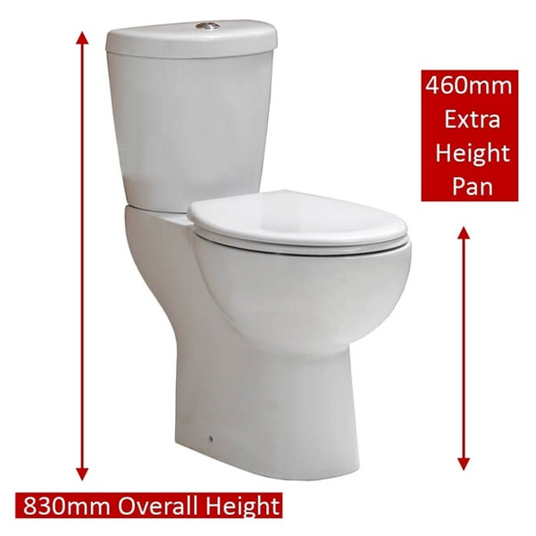 Alternate image of QX Comfort Elevated Height Close Coupled Pan With Cistern And Soft Close Seat