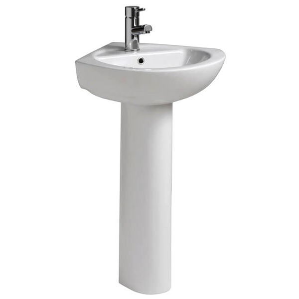 QX Solo 390 x 390mm Corner Basin And Pedestal