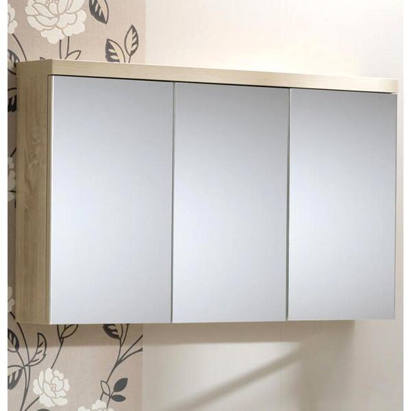 QX Eden 3 Door Mirrored Cabinet 1200mm - Textured Oak