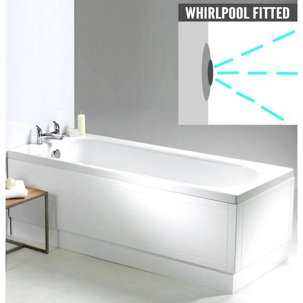QX Ebony 1700 x 700mm Shower Bath With Option 5 Whirlpool System