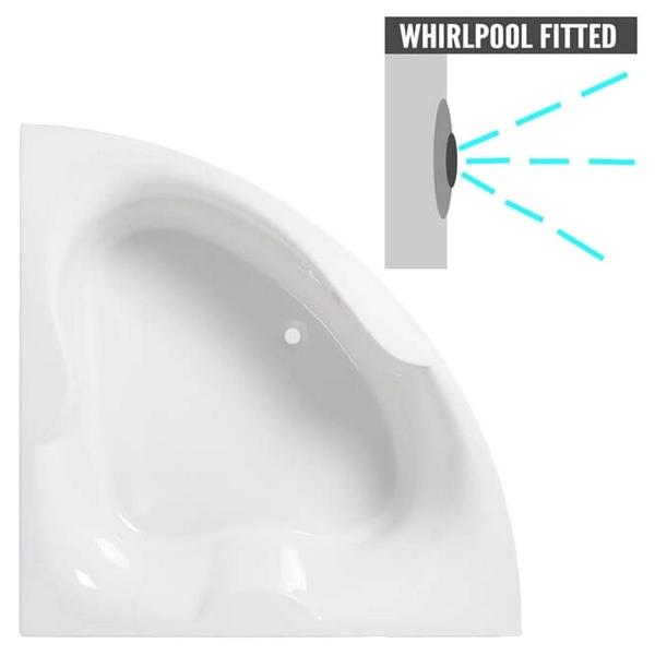 QX Michigan 1500 x 1500mm Superspec Corner Bath With Option 1 Whirlpool