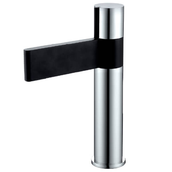 Frontline Line Black And Chrome Basin Tall Mixer Tap With Sprung Waste