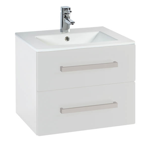 Frontline Aquatrend 600 x 465mm Wall Hung 2 Drawer Vanity Unit And Basin