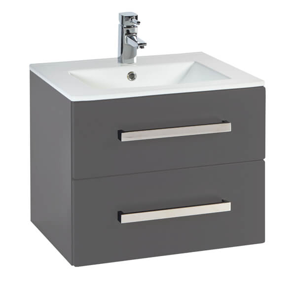 Additional image of Frontline Aquatrend 600 x 465mm Wall Hung 2 Drawer Vanity Unit And Basin