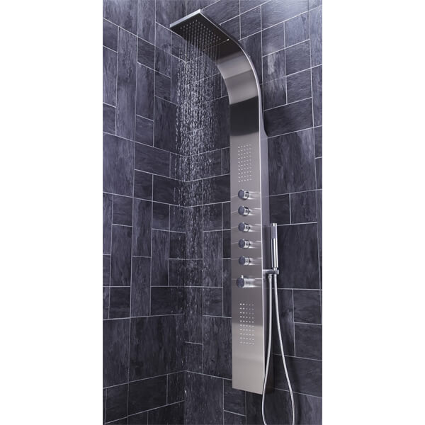 Additional image of Frontline Dharma Thermostatic Shower Panel With Built-In Massage Jets And Water Blade