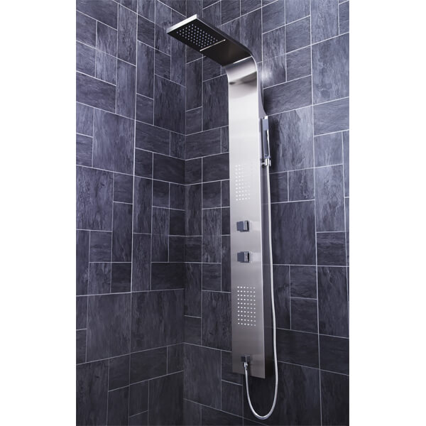 Additional image of Frontline Modo Thermostatic LED Shower Panel With Massage Jets And Water Blade