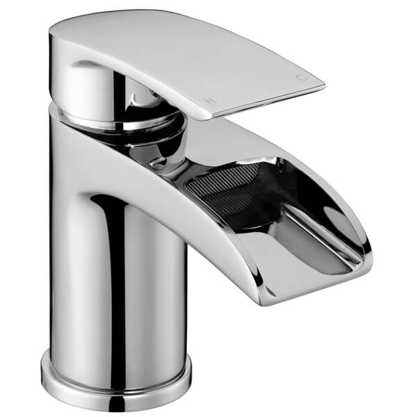 Frontline Flo Waterfall Basin Mixer Tap With Click Clack Waste