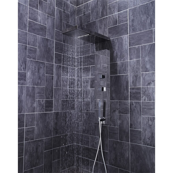 Additional image of Frontline Cubix Thermostatic Shower Panel With Built-In Massage Jets And Water Blade