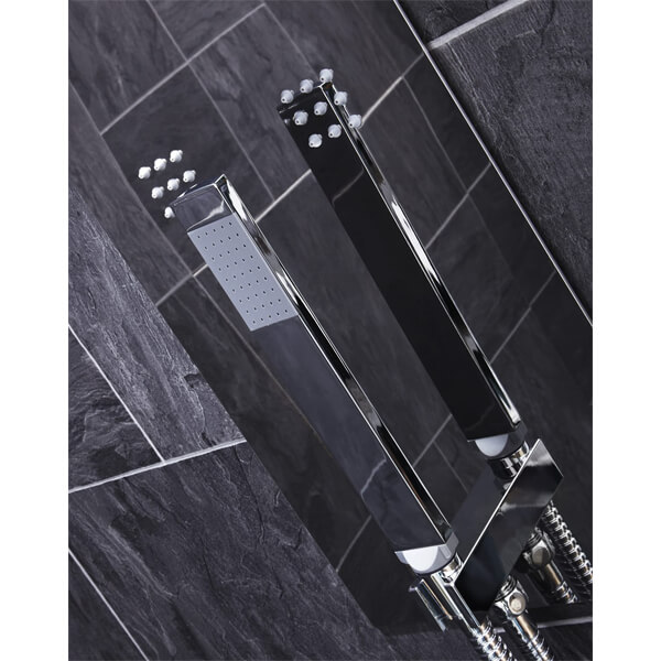Alternate image of Frontline Cubix Thermostatic Shower Panel With Built-In Massage Jets And Water Blade