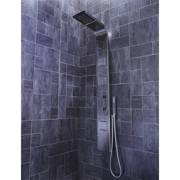 Additional image of Frontline Pano Thermostatic Shower Panel With Movable Massage Jets And Water Blade