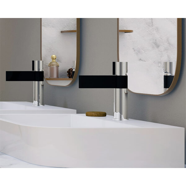 Additional image of Frontline Line Black And Chrome Basin Tall Mixer Tap With Sprung Waste