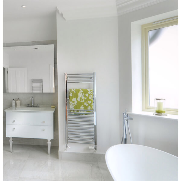 Alternate image of Towelrads Pisa 600mm Wide Straight Towel Rail - More Heights Available