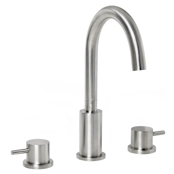 Frontline Solito Brushed Steel 3 Tap Basin Mixer Tap With Click-Clack Waste