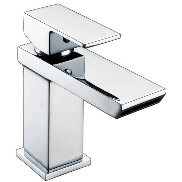 Frontline Sleek Mini Waterfall Basin Mixer Tap With Click-Clack Waste