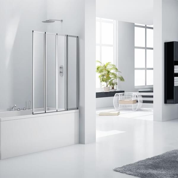 Frontline Aquaglass+ 3mm 4 Fold Bath Screen 850 x 1400mm