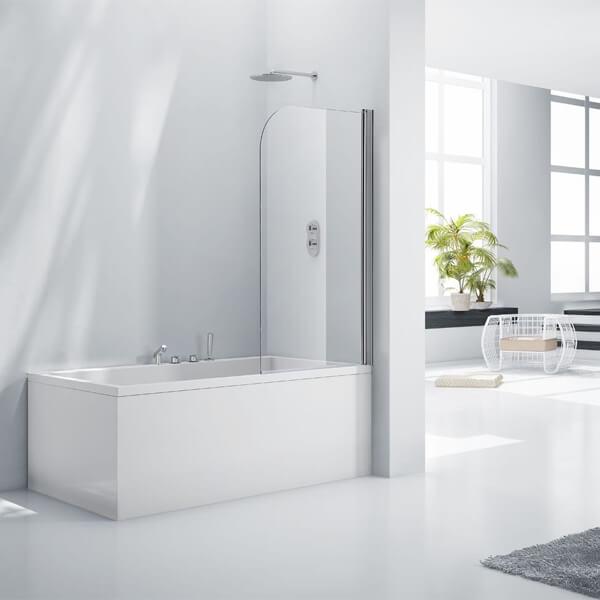 Frontline Aquaglass+ 6mm Rise And Fall Bath Screen 800 x 1400mm