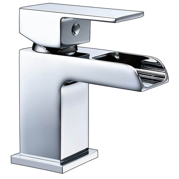 Frontline Stream Mini Waterfall Basin Mixer Tap With Click Clack Waste