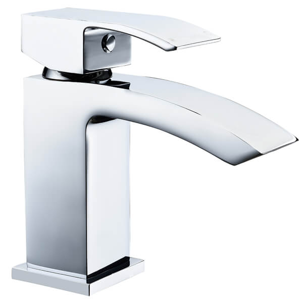 Frontline Pure Mini Waterfall Basin Mixer Tap With Click Clack Waste