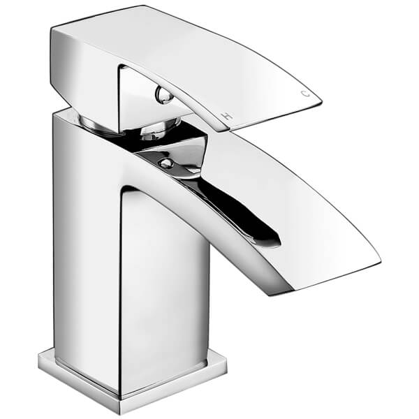 Frontline Pure Waterfall Basin Mixer Tap With Click Clack Waste