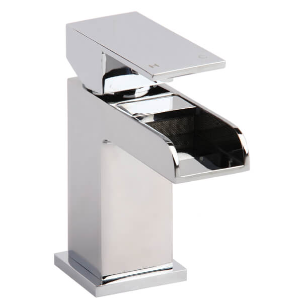 Frontline Stream Waterfall Basin Mixer Tap With Click Clack Waste