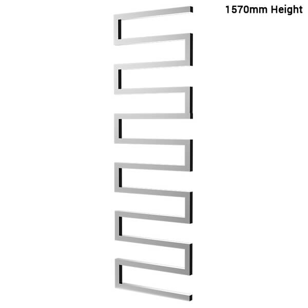 Additional image of Radox Serpentine 500mm Width Towel Rail Stainless Steel - Height 730, 1010 - 1570mm