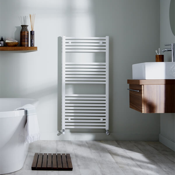 Alternate image of Towelrads Pisa 400mm Wide White Straight Towel Rail - More Heights Available