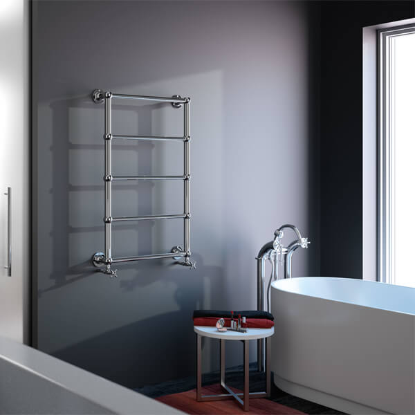 Additional image of Radox Edwardian Wall Mounted Traditional Towel Rail Chrome - Height 480 - 920mm