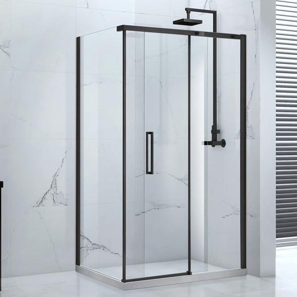 Frontline Aquaglass Onyx 8mm Black Framed Sliding Door
