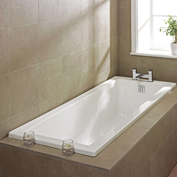 Single Ended Bath Heavy Duty 1700mm White Acrylic Bath Modern Bathroom 750//700mm